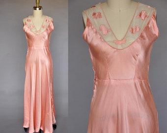 30s peach nightgown   vintage 1930s bias cut gown   silk satin 30s nightgown   mesh detail M