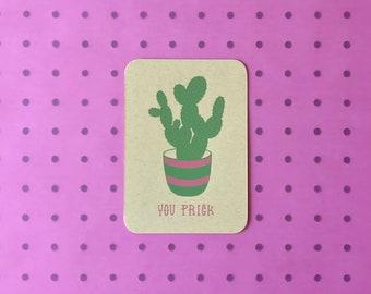 Screenprinted Postcard - You Prick Cactus