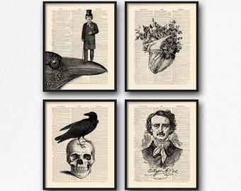 Poe Poster Gift, Book Lover Gift Set, Nevermore Allan Poe, Edgar Allan Poe, Mystery Xmas Gift, Edgar Poe Gothic, Cyber Monday Print, 08