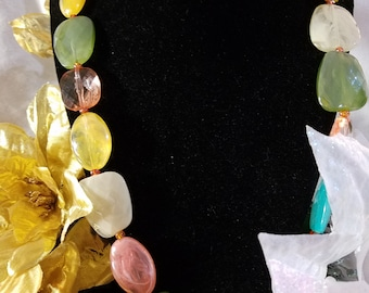 Multi-faceted beaded necklace