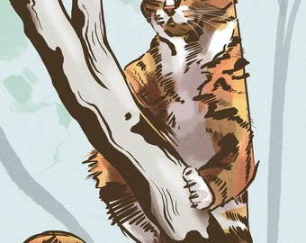 Custom Pet Portrait - Buddy the Cat - Giclee Print - Made to order.
