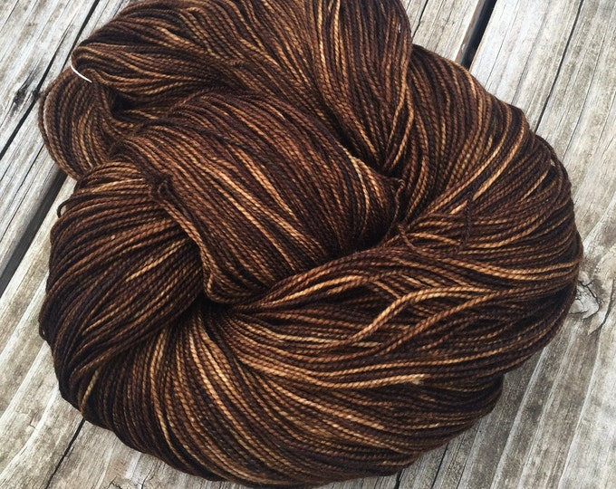 hand dyed sock yarn Walk the Plank Shawl Length Super Skein Superwash Merino Cashmere Nylon MCN 600 yards fingering weight brown mahogany