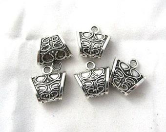 5 Antique Silver Carved Scarf Bails 23 x 23mm (B373e)