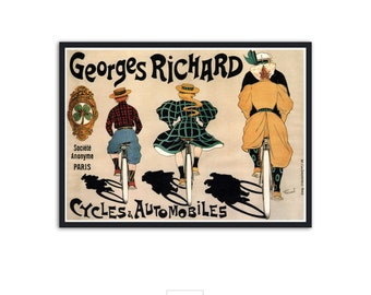 Vintage bicycle advertisement - Vintage ads - Bicycle wall art, Bicycle print - Georges Richard Cycles, P066