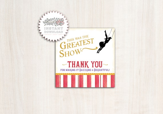 Greatest Showman Favor Tag - Instant Download Party Supplies
