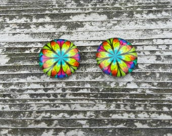 12mm Rainbow Floral Glass Cabochon