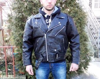 Vintage Italia Leather Jacket, Moto Leather Jacket, Black Leather Jacket, Biker Leather Jacket, Motorcycle Leather Jacket, Size S Men's