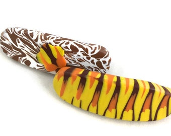 Fun Barrettes Tiger Stripes Polymer Clay Set of Two