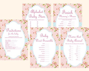 Pink floral Chic Baby Shower Games Printables, Rose Baby Shower Game Pack, Instant Download Baby shower Games, Chic TLC43