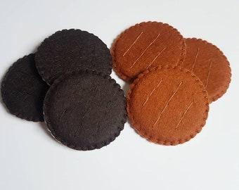Felt Chocolate Biscuits . Felt food. Novelty Pretend Play. Children's Gift