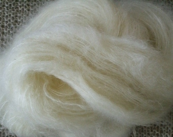Brushed mohair blend yarn, natural