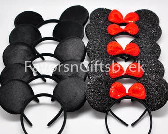 1 Sparkly Minnie with RED bow + 1 Plain Mickey