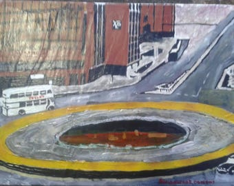 """An acrylic painting of """"Ole in t' Road"""" or Hole in the Road in Sheffield"""