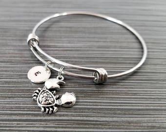 Crab Bangle - Crab Charm Bracelet - Expandable Bangle - Fisherman Charm Bangle - Crab Bracelet- Initial Bracelet - Personalized Bracelet