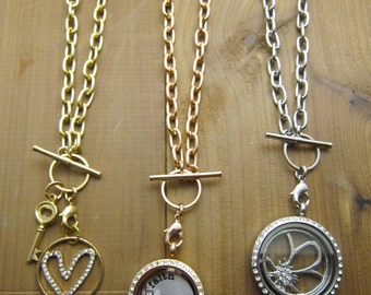 """Link Toggle Chain Necklace 20"""" in length for Memory Locket - Stainless Steel - Choose One: Rose Gold, Silver, Gold"""
