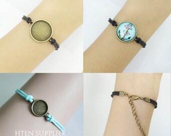 10pcs 12mm bracelet Base trays 8mm / 10mm / 12MM / 14MM / 16MM / 18MM / 20MM / 25MM  bracelet Setting, bracelet blank 10 colors