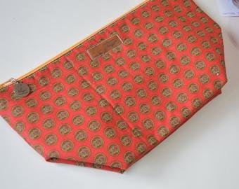 Wide Project Bag, Zipper Pouch, cosmetic pouch, padded pouch, zip pouch, project pouch, wedge pouch,  knitting bag, crochet bag