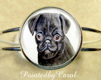 Black Pug Bracelet, Black Pug Jewelry, Black Pug Cuff Bracelet, Black Pug Gifts, Gift for Pug Mom, Pug Mom Gifts, Pug Lover Gifts