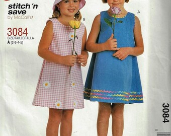McCall's Easy Patterns#3084 Childrens Sleeveless A-line Dress  Size 2-5   Uncut Factory Folded