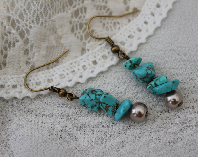 Turquoise Chip and Sandy Pearl Antiqued Bronze Boho Earrings.