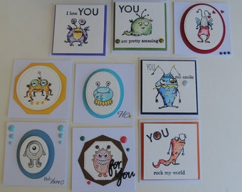Handmade, Hand Stamped Watercolor Monster Inspiration Enclosure Gift Cards.