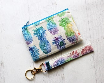 Pineapple gift set - pineapple zippered pouch - pineapple key fob wristlet - gift ideas for sister - pineapple bag - pineapple wristlet