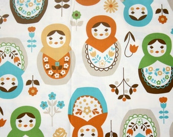 "Matryoshka Print Japanese Fabric Natural Colors  50 cm by 106 cm or 19.6 "" by 42"" half  meter"