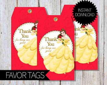 Beauty and the Beast Princess Belle Birthday Party PRINTABLE Favor Tags- Instant Download | Disney | Princess Belle