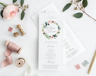 Editable Template - Instant Download Spring Romance Wedding Program
