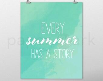 Summer Art, Wall Art, Summer Art Print, Home Decor, Summer Print, Beach Art, Summer Decor, Wall Decor, Instant Download, Green Watercolor