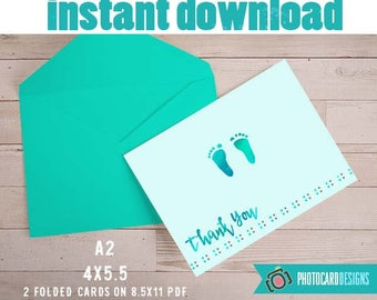 Baby THANK YOU card, Baby Feet Thank You, Baby Shower, Watercolor, Baby, Thank You Note, A2, Digital, Printable, Party, INsTANT DOWNLOAD