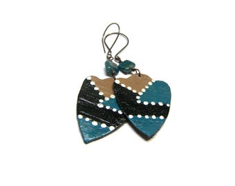 Blue Apatite leather earrings Hand painted Earrings painted leather Geometric Earrings triangle earrings Gifts for Women gift for mom