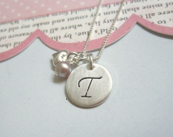 Girls Fancy Initial with Pearl and Heart Hand Stamped Personalized Initial Necklace