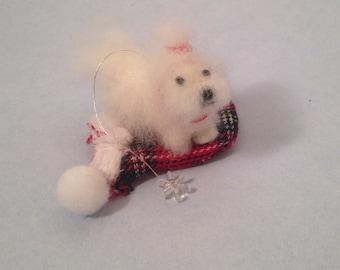 Maltese Christmas tree ornament- Ready to ship!