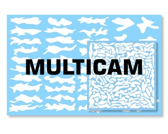 Multicam Master Collection [Disruptive Shapes Series] Vinyl Spray Mask Camo Stencil for Rifles, Shotguns, Handguns, Optics & Small Equipment