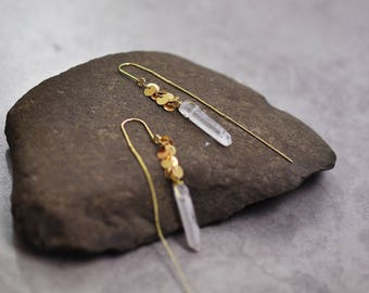Gold earrings, long earrings, boho earrings, wire wrapped earrings, raw crystal earrings, threader earrings, wire wrap crystal earrings gift