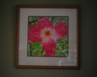 Red Dogwood Blossom oil painting