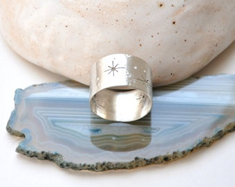 Silver wide band ring Sterling silver ring Stars ring Space jewelry Milky way Constellation Night sky Stardust Zodiac jewelry