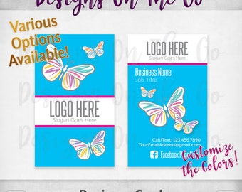 Butterflies Business Cards, Custom, Customize Colors, Various Options, Direct Sales, Consultant, Branding, Marketing, Foil