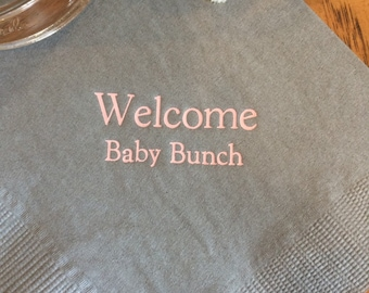 50 Personalized Napkins Personalized Napkins Baby Shower Personalized Cocktail Beverage Paper Party Monogram Custom Luncheon Avail!