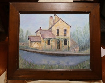 """Debby """"Detra"""" Mahlmeister Illinois Artist Signed and Framed Original Oil Painting of Summer Mill on the River 25 by 21 inches"""