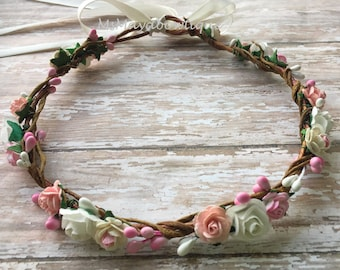 Flower crown blush, flower girl crown blush, bridal flower crown, flower crown pastel, flower crown wedding, flower girl cronw wedding