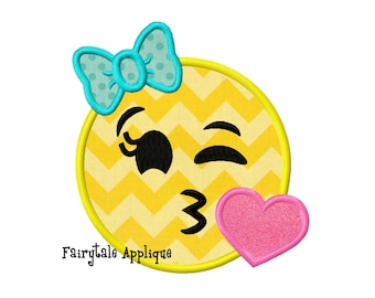 Digital Machine Embroidery Design -  Kissy Face Smiley Face