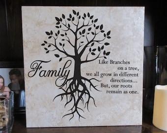 12x12 Decorative Tile, Family Roots Tile, Home Decor, Family Tree, 12 x 12 Tile