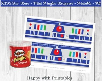 R2D2 Star Wars Mini Pringles wrappers - R2D2 wrappers - Mini Pringles wrappers R2D2 - Star Wars The Last Jedi - R2D2 favor printable