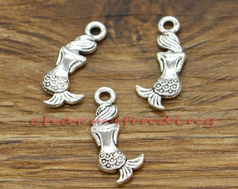 50pcs Mermaid Charms  2 Sided Little Mermaid Ocean Charms Antique Silver Tone 17x8mm cf0318