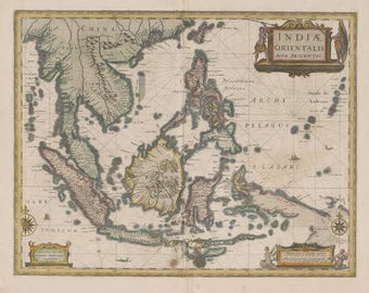 Old map of asia etsy antique map of south east asia 1649 huge map old rare gumiabroncs Gallery