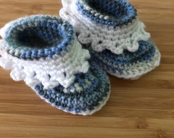 Baby Booties, handmade merino wool and acrylic crochet