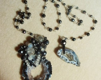 Hematite, Moonstone and White Topaz Sterling Geode Necklace, Wire Wrapped, OOAK