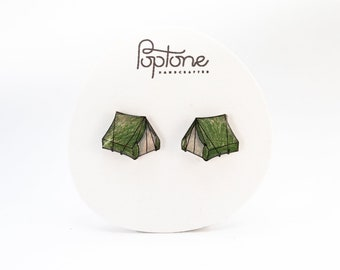 Tent stud earrings, nature lover jewelry, camping outdoor earrings, summer camp earrings, tents, hiker earrings